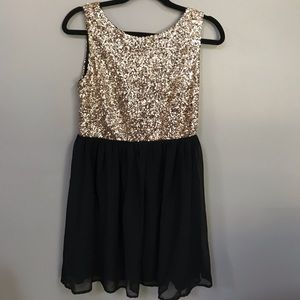 Black and gold sequin party dress!